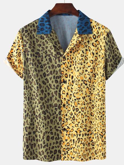 Men Fun Bicolor Leopard Patchwork Holiday Casual Shirt discountshub