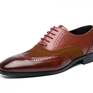 Men Large Size Lace-up Color Blocking Stitching Square Toe Business Loafers discountshub