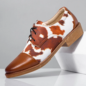 Men Stylish Cap Toe Special Pattern Derby Shoes discountshub