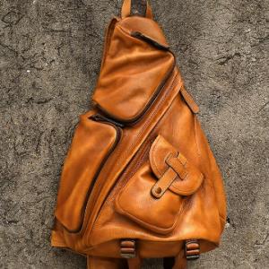 Men Vintage Brown Multi-pocket PU Leather Chest Bag Crossbody Bag Sling Bag discountshub