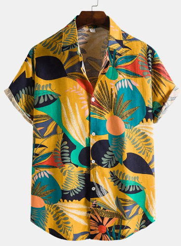 Mens Colorful Plant Print Button Up Holiday Short Sleeve Shirts discountshub