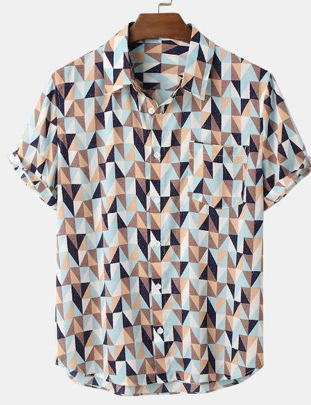 Mens Geometric Spot Printed Lapel Holiday Short Sleeve Shirts discountshub