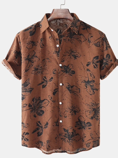Mens Thin & Breathable Cotton Floral Print Vintage Holiday Casual Short Sleeve Shirt discountshub