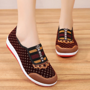 New Style Old Beijing Cloth Shoes Women's Soft Bottom Non-Slip Middle-aged Leisure Cloth Flat Bottom Mom Shoes Female Shoes discountshub