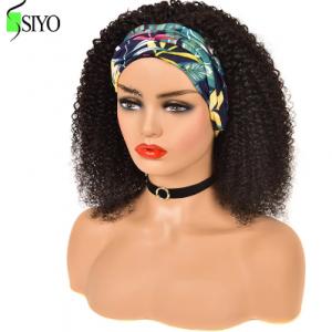 Siyo Afro Kinky Curly Headband Wigs 100% Malaysian Remy Human Hair Wigs Scarf Wig for Black Women Jerry Curl Full Machine Wigs discountshub