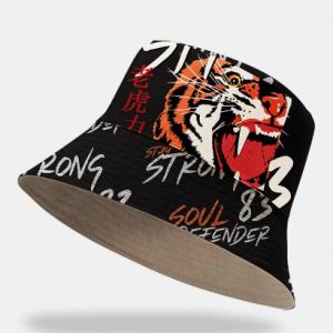 Unisex Cotton Fashion Cool Tiger Letters Print Outdoor Sunshade Ring Decor Bucket Hat discountshub