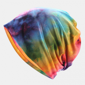 Unisex Dual-use Cotton Multicolor Tie-dye Elastic Casual Beanie Hat Scarf discountshub