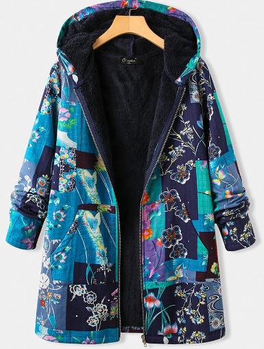 Vintage Floral Print Fleece Plus Size Hooded Coat with Pockets discountshub