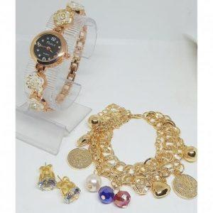 Women Gold Plated Wristwatch + Bracelet + Earring discountshub