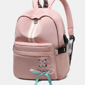 Women USB Charging Butterfly Knot Large Capacity Backpack School Bag discountshub
