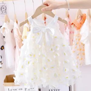 Baby Girls Sweet Bowknot Princess Mesh Dress Summer 2020 New Girl Children's Puff Yarn Dress kids baby girl cloths discountshub