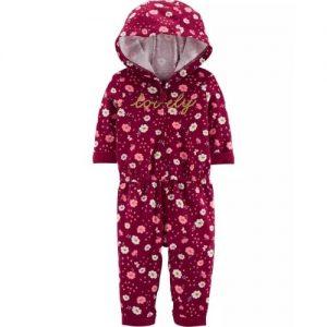 Carter's Lovely Floral Hooded Jumpsuit- Magenta discountshub