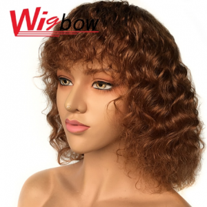 Curly Human Hair Wig Brazilian Hair Wig With Bangs Highlight Ombre Human Hair Wig T1B 30 Wigs For Women Machine Made Wigbow discountshub