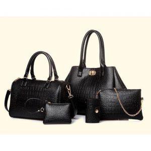 Deluxe 5 Set Women's Pu Leather Shoulder Handbag - Black discountshub
