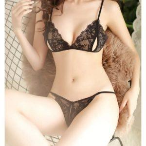 Erotic Temptation G String Panties & Bra - Black discountshub