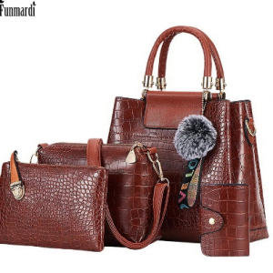 FUNMARDI 4PS Women Bags Set Luxury Crocodile Female Handbags PU Leather Shoulder Bags Brand Composite Bags Crossbody WLHB2024 discountshub