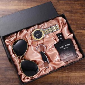 Fashion Trend All-match Gift Set Glasses + Steel Band Quartz Watch + perfume bottle + Keychain (4pcs/set) discountshub