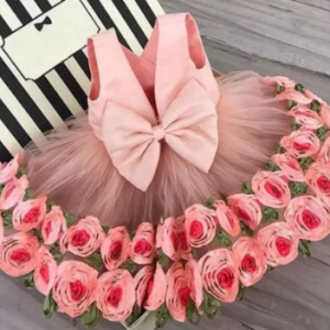 Lovely Girls Rose Flower Princess Dress Kids Sleeveless Party Pageant Wedding Bridesmaid Dresses Clothing For Girl discountshub