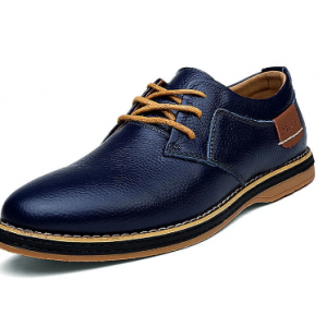 Men British Style Comfy Leather Oxfords Lace Up Business Casual Shoes discountshub