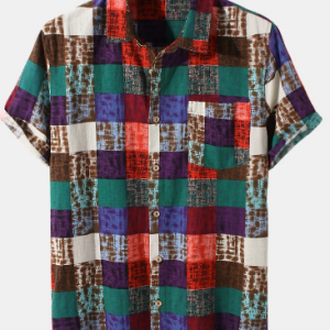 Mens Colorful Check Plaid Print 100% Cotton Short Sleeve Shirts discountshub