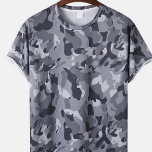 Mens Cotton Camo Print Crew Neck Sports Casual Short Sleeve T-Shirts discountshub