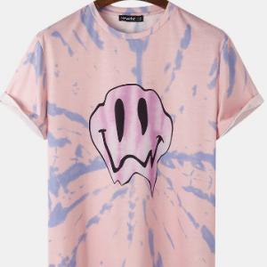 Mens Funny Smile Pattern Tie Dye Short Sleeve Street T-Shirt discountshub