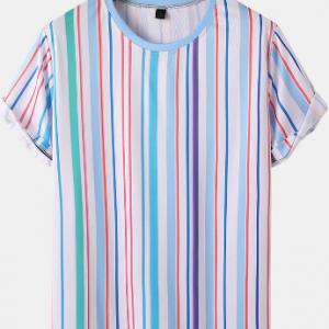 Mens Multi Color Stripe Breathable Short Sleeve Preppy T-Shirts discountshub