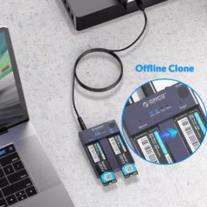 ORICO Dual Bay M.2 NVME SSD Enclosure Offline Clone USB C 3.1 Gen2 10Gbps For M Key & M/B Key NVME PCIe SSD Hard Drive Reader discountshub