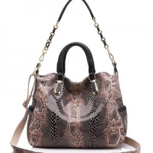 REALER Genuine Leather Totes Bags Female Serpentine Prints Handbag Boston Bag Large Shoulder Crossbody Bag for Women Messenger discountshub