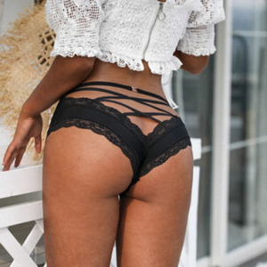 SP&CITY Back Crossing Bandage Hollow Out Sexy Panties Lace Edge Seamless Underwear Women Transparent Lingerie Solid Briefs Thong discountshub