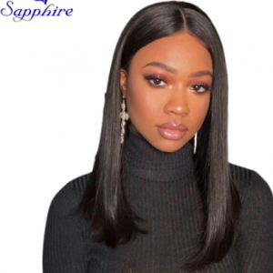 Sapphire 10 12 14 16 Inches Middle Part Straight Human Hair Wigs Lace Parting Wigs Remy Hair Natural Hairline Bleached Knots discountshub