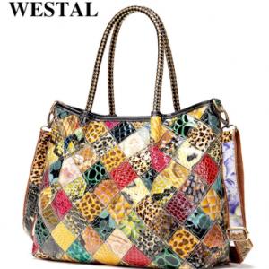 WESTAL women's leather handbags ladies hand bags women genuine leather totes top handle boho bag emboridered shoulder bag female discountshub