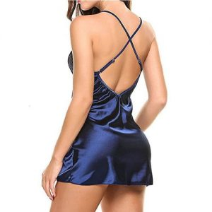 Women's Fashion Sexy Lingerie Sheer Scalloped Satin Chemise Slip Silk Lace Robe Dress Nightwear discountshub