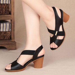 Women's Office Sandals Heeled Sandals -Black discountshub