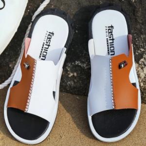 2020 Men's Summer Sandals Original Leather Comfortable Slip-on Casual Sandals Fashion Men Slippers Zapatillas Hombre Size 38-46 discountshub