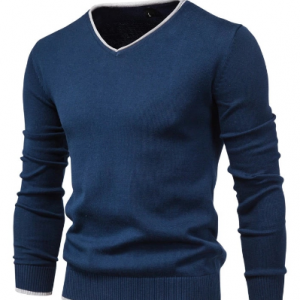 2020 New Cotton Pullover V-neck Men's Sweater Fashion Solid Color High Quality Winter Slim Sweaters Men Navy Knitwear discountshub