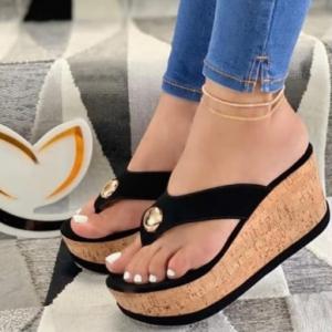 2021 Women Summer High Heel Slippers Platform Sandals Ladies Wedges Solid Flip Flops Shoes Girl Outdoor Beach Slippers Plus Size discountshub