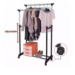 Adjustable Double Pole Stainless Clothes Hanger And Drying Rack discountshub