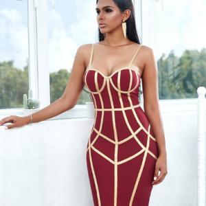 Adyce 2021 New Summer Bodycon Bandage Dress Women Sexy Spaghetti Strap Sleeveless Club Knee Length Celebrity Evening Party Dress discountshub