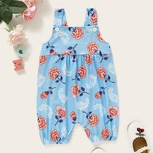 Baby Girls Floral Print Jumpsuit Fashion Sleeveless Romper discountshub