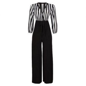 Bold Front Wrap Palazzo Jumpsuit - White/black discountshub