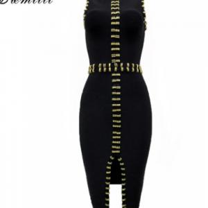 CIEMIILI 2021 New Women Sleeveless Bandage Dress Sexy Front Split Celebrity Party Elegant Knee Length Fashion Bodycon Midi Dress discountshub