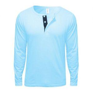 Danami Button Designed Long Sleeve T-Shirt- Light/Sky Blue discountshub