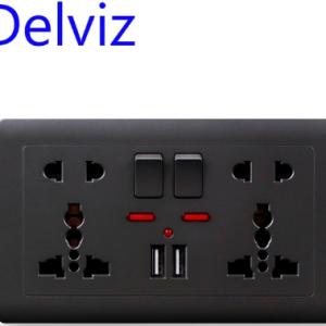 Delviz EU Standard Usb Socket, Gray Embedded Panel,2.1A Dual USB Port, AC 110-250V, UK Wall Power Socket Universal 5 Hole Outlet discountshub