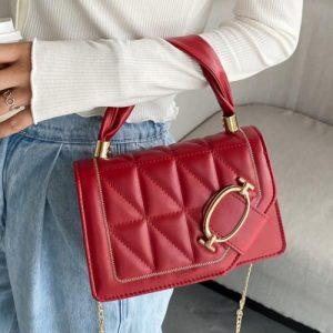 Elegant Women Handbag PU -Red discountshub