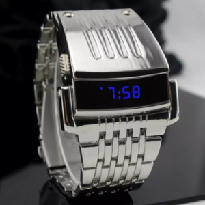 Fashion Blue Watches LED Display Wide Stainless Steel Band Men Digital Wrist Watch Gift Retro Simple Electronic Men's Watches discountshub