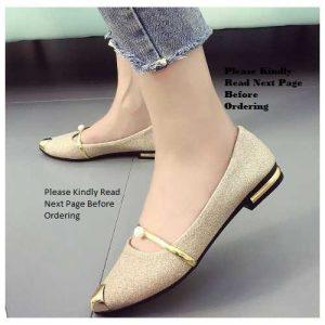 Femme Classy Pointer Ballerina Shoes - Gold discountshub