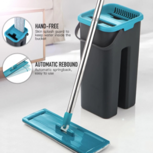 Flat Squeeze Mop and Bucket Hand Free Wringing Floor Cleaning Mop Microfiber Mop Pads Wet or Dry Usage on Hardwood Laminate Tile discountshub