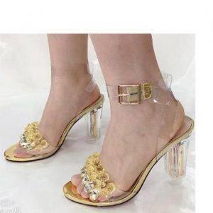 Gold Cristal Mid Low Heel Sandal discountshub