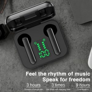 L12 Earphones Wireless Bluetooth Headphones LED Display Black discountshub